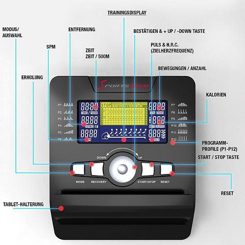 Sportstech RSX500 Menu Einstellungen